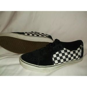 VANS AVE SK8 BLACK WHITE CHECK CHECKED SUEDE SHOES